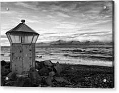 Beacon At Hvaleyrarviti In Iceland Bw Acrylic Print by Andres Leon