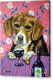 beagle at the Wine Bar Acrylic Print by Jay  Schmetz