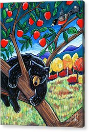 Bear In The Apple Tree Acrylic Print by Harriet Peck Taylor