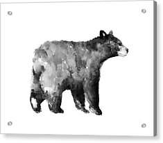 Bear Watercolor Drawing Poster Acrylic Print by Joanna Szmerdt