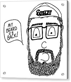 Beard Comic Acrylic Print by Karl Addison