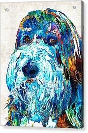 Bearded Collie Art 2 - Dog Portrait By Sharon Cummings Acrylic Print by Sharon Cummings
