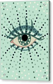 Beautiful Abstract Dotted Blue Eye Acrylic Print by Boriana Giormova