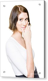 Beautiful Business Woman Putting On A Happy Face Acrylic Print by Jorgo Photography - Wall Art Gallery