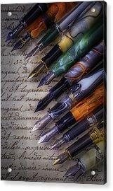 Beautiful Fine Fountain Pens Acrylic Print by Garry Gay