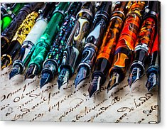 Beautiful Fountain Pens Acrylic Print by Garry Gay