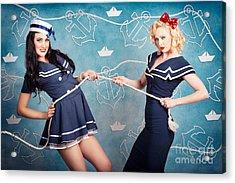 Beautiful Navy Pinup Girls On Marine Background Acrylic Print by Jorgo Photography - Wall Art Gallery