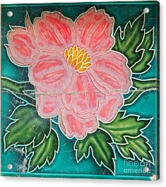 Beautiful Old Ceramic Tile Acrylic Print by Yali Shi