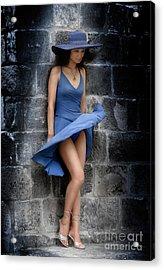 Beautiful Romantic Woman Standing Near A Stone Wall Acrylic Print by Oleksiy Maksymenko