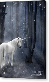 Beautiful Unicorn In Snowy Forest Acrylic Print by Ethiriel  Photography