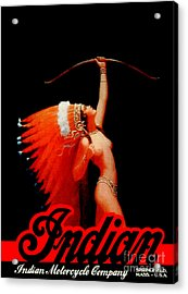 Beautiful Vintage Indian Motorcycle Poster Acrylic Print by Pd