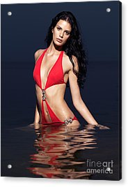 Beautiful Young Woman In Red Swimsuit Standing In Water Acrylic Print by Oleksiy Maksymenko