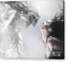 Beauty And The Beast, Beautiful Woman Kissing A Monster Acrylic Print by Caio Caldas