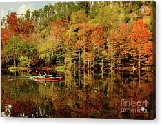Beaver's Bend Canoeing Acrylic Print by Tamyra Ayles