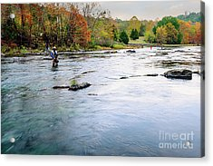 Beaver's Bend Fly Fishing Acrylic Print by Tamyra Ayles