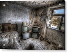 Bed Time Tv Acrylic Print by Nathan Wright