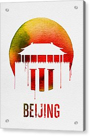 Beijing Landmark Red Acrylic Print by Naxart Studio