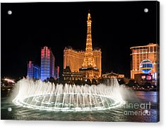 Bellagio Fountains Night 1 Acrylic Print by Andy Smy