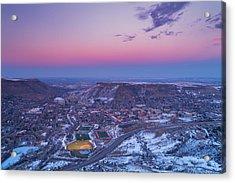 Belt Of Venus Over Golden Colorado Acrylic Print by Darren  White
