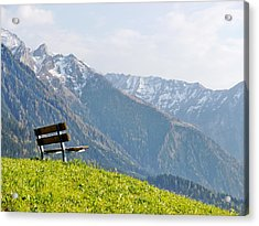 Bench Acrylic Print by Rolfo Eclaire