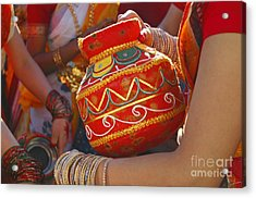 Bengali Maiden Dancers With Water Jars Acrylic Print by Charline Xia