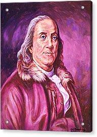 Benjamin Franklin Acrylic Print by Ed Breeding