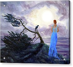 Bent Cypress And Blue Lady Acrylic Print by Laura Iverson
