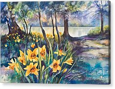 Beside The Lake Beneath The Trees. Acrylic Print by Kate Bedell