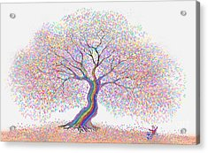 Best Friends Under The Rainbow Tree Of Dreams Acrylic Print by Nick Gustafson
