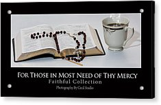 Bible And  Rosary Acrylic Print by Cecil Fuselier
