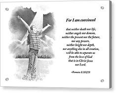 Bible Verse With Pencil Drawing Acrylic Print by Joyce Geleynse