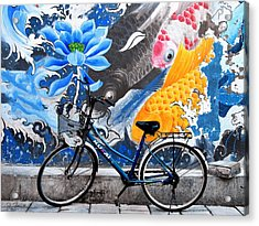 Bicycle Against Mural Acrylic Print by Joe Bonita