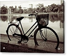 Bicycle By The Lake Acrylic Print by Dave Bowman