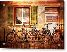 Bicycle Line-up Acrylic Print by Debra and Dave Vanderlaan