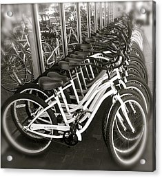 Bicycles In Belmont Shore Acrylic Print by Gwyn Newcombe