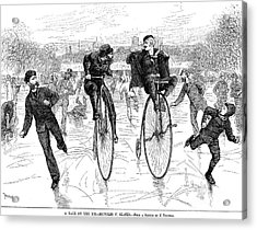 Bicycles On Ice, 1881 Acrylic Print by Granger