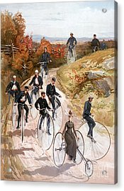 Bicycling, 1887 Acrylic Print by Granger
