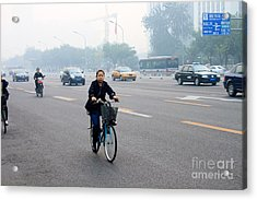 Bicyclist In Beijing Acrylic Print by Thomas Marchessault