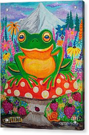 Big Green Frog On Red Mushroom Acrylic Print by Nick Gustafson