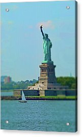 Big Statue, Little Boat Acrylic Print by Sandy Taylor