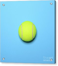 Big Tennis Ball On Blue Background - Trendy Minimal Design Top V Acrylic Print by Aleksandar Mijatovic
