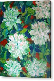 Big White Mums Acrylic Print by Patricia Taylor
