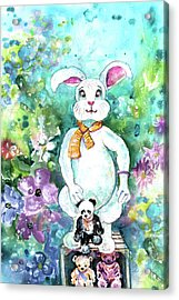 Big White Rabbit And Teddy Bears In A Flower Shop Acrylic Print by Miki De Goodaboom