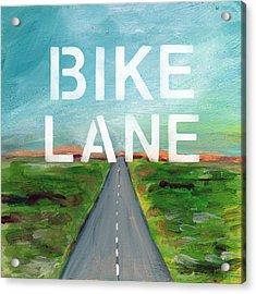 Bike Lane- Art By Linda Woods Acrylic Print by Linda Woods