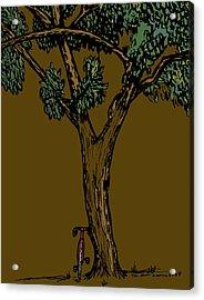 Bike Next To Tree Acrylic Print by Karl Addison