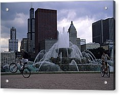 Bikers Tour Around Chicago Acrylic Print by Stacy Gold