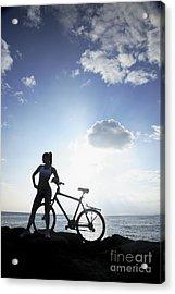 Biking Silhouette Acrylic Print by Brandon Tabiolo - Printscapes