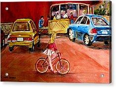 Biking To The Orange Julep Acrylic Print by Carole Spandau