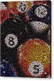 Billiard Ball Bottle Cap Mosaic Acrylic Print by Paul Van Scott