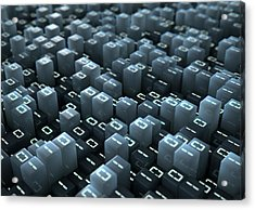 Binary Code Pixels Acrylic Print by Allan Swart
